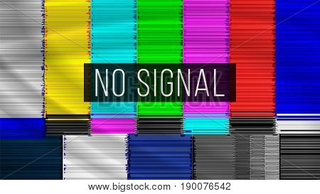 Distorted Glitch TV. Digilal No signal. Glitch Art Show Static Error. Vector