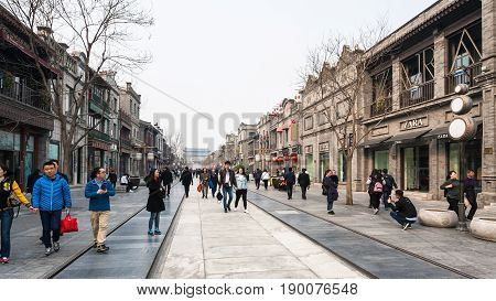 Visitors On Central Pedestrian Street Qianmen