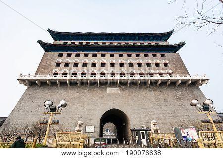 Front View Of Arrow Tower (jian Lou) In Beijing