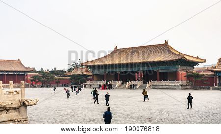 Tourists At Courtyard Of Imperial Ancestral Temple