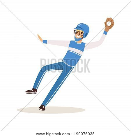 Baseball player in a blue uniform pitching vector Illustration isolated on a white background