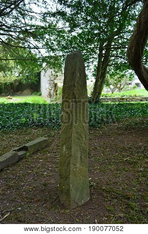 Megalithic Ogham standing stones as seen in Adare Ireland.