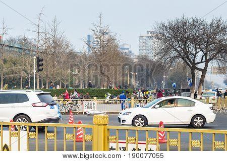 Green Boulevard On Qianmen East Street In Spring