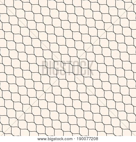 Vector seamless pattern. Diagonal wavy lines pattern. Subtle texture of mesh, fishnet, lace, weaving, smooth grid. Monochrome geometric background. Design pattern, fabric pattern, furniture pattern, textile pattern, package pattern.
