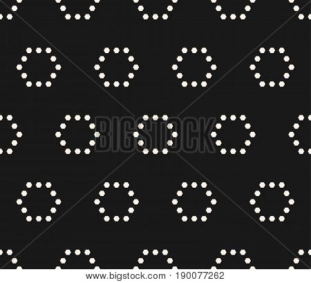 Vector minimalist seamless pattern. Simple monochrome geometric texture with small hexagons in hexagonal grid. Repeat tiles pattern. Abstract dark minimalistic background. Subtle design for decor, covers, web. Pattern modern, pattern simple, pattern art.