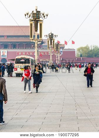 Tourists And Loudspeakers On Tiananmen Square