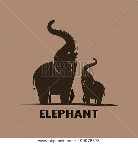 Vector of an Elephant design on a brown background