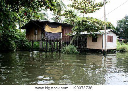 Life in the slums of Bangkok,Thailand, river