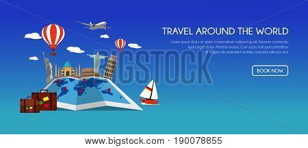 Travel Around the World. Landmark architecture of the world. Vector travel concept