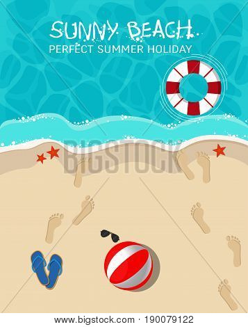 Top view of a sunny beach. Summer vacation concept