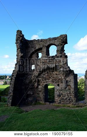Ruins of St Anthony's Chapel at the base of Arthur's Seat in Edinburgh Scotland.