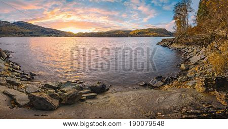 Norwegian Autumn Sunset Landscape
