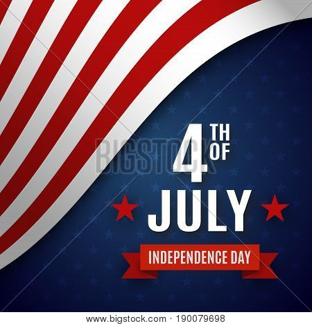 Fourth of July greeting card template. United States of America Independence day poster, brochure design. Vector illustration