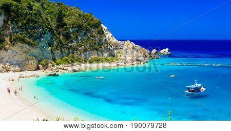 Turquoise beautiful beaches  of Lefkada island, Agios Nikitas village