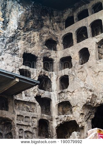 Caves In Buddhist Monument Longmen Grottoes