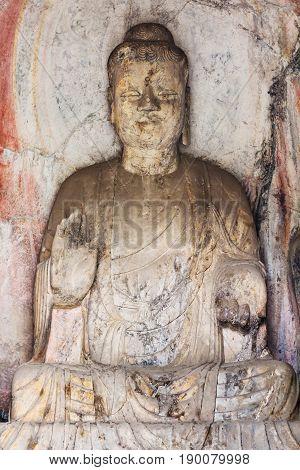 Statue In Middle Binyang Cave In Longmen Grottoes