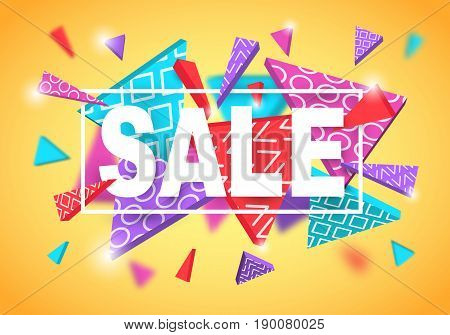 Sale banner template. Poster design with multicolored abstract decorative triangles, trendy 90s dynamic style. Vector illustration.