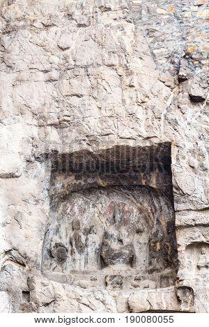 Sculpture In Cave Of Longmen Grottoes