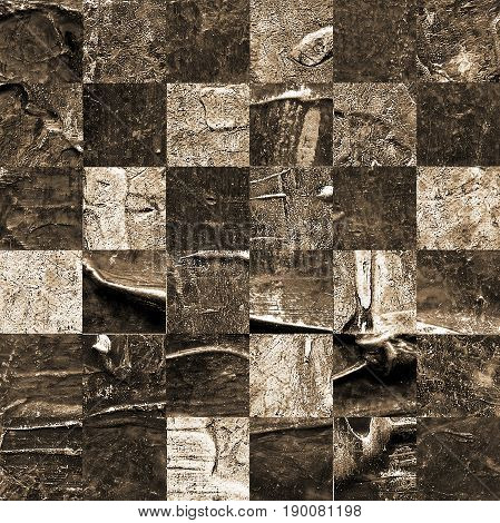 Grunge textured abstract checkered seamless pattern. Checkered finish flag painted with acrylic and oil paints in shades of brown on canvas. Rows squares with distressed vintage texture