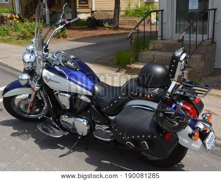 BROMONT QUEBEC CANADA 05 28 17: The Vulcan name has been used by Kawasaki for their custom or cruiser motorcycles since 1984, model designation VN, using mostly V-twin engines