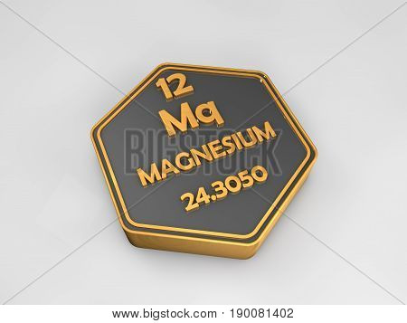 Magnesium - Mq - chemical element periodic table hexagonal shape 3d illustration
