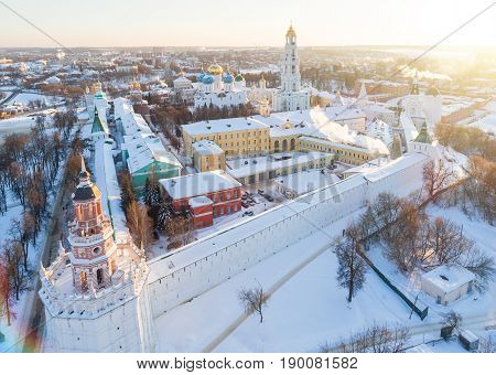 Aerial View On Trinity St. Sergy Monastery At Winter