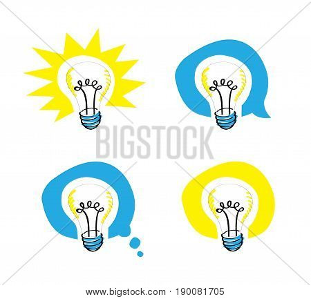 lightbulb scribble representing an idea in 4 different background balloons including a speech balloon and a thought one