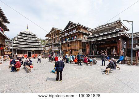 Tourists On Square Of Folk Custom Centre