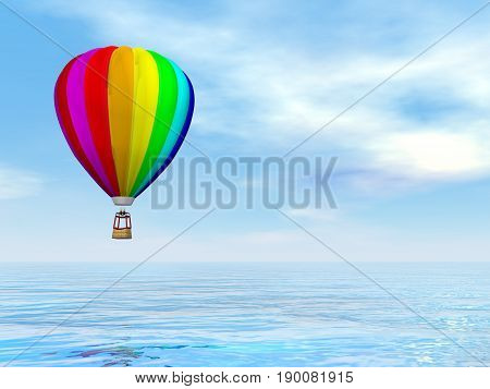 One colorful hot air balloon flying upon water by blue day - 3D render