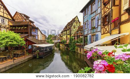 Famous traditional colorful timbered houses in Little Venice, petite Venise, Colmar, Alsace, France