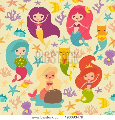 Mermaids girls vector pattern. Cute cartoon card with little mermaid seamless pattern. Cat mermaid under the sea. Fish corals and seaweed cartoon style