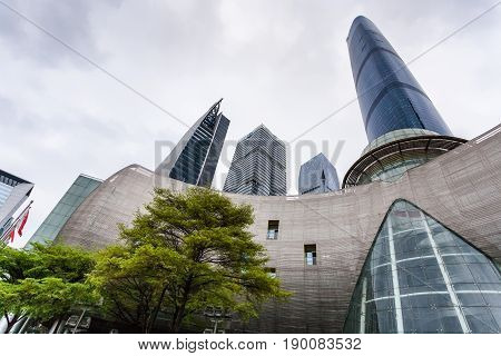 Opera House And Skyscrapers In Guangzhou City