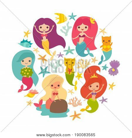 Mermaids girls vector illustration. Cute cartoon card with little mermaid circle composition. Cat mermaid under the sea. Isolated on white. Fish corals and seaweed cartoon style