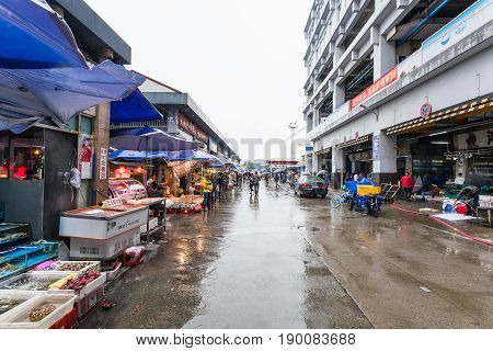 Outdoor Area Of Fish Market In Guangzhou City