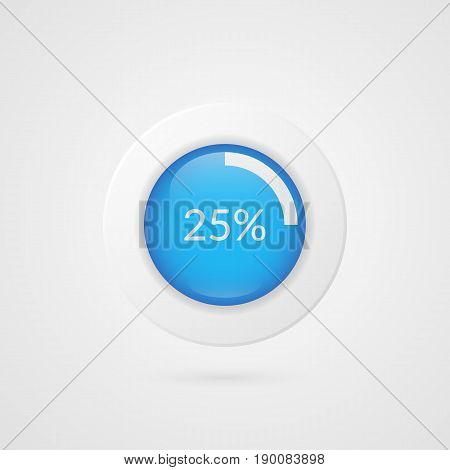 25 percent blue white pie chart. Percentage vector infographics. Circle diagram isolated symbol on gradient background. Business illustration icon for marketing presentation project data report information plan web design