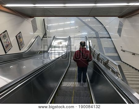 Staircase Of Zhushikou Station In Beijing