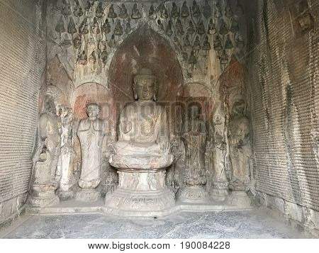 Carved Figures With Sakyamuni Statue In Grotto
