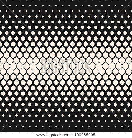 Halftone pattern. Vector seamless pattern. Monochrome geometric pattern. Transition effect pattern. Vertical falling rounded shapes pattern. Modern abstract background. Dark pattern, design pattern, decoration pattern, covers pattern, web pattern.