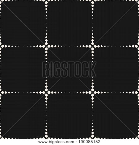 Vector monochrome seamless pattern. Simple geometric background. Dotted shapes pattern. Halftone crosses pattern. Abstract pattern. Dark background with repeat tiles. Prints pattern, cloth pattern, fabric pattern, digital pattern, web pattern.
