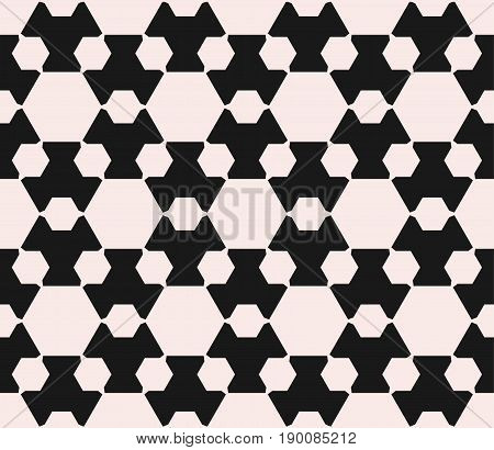 Vector seamless pattern. Minimalist monochrome geometric background. Big and small hexagon figures pattern. Abstract contrast background. Design pattern, prints pattern, covers pattern, furniture pattern.