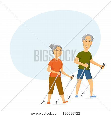 Seniors nordic walking. Pensioners walk together. Old man and women leisure. Cartoon character sport vector illustration. Elderly people hiking and have a fun. Healthy lifestyle