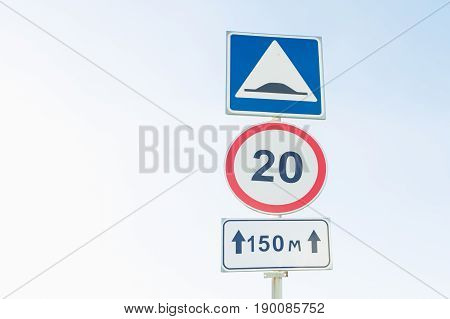 Traffic signs Maximum speed limit , artificial unevenness and Coverage