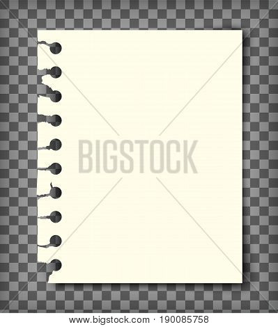 Blank notebook page with torn edge. Notepaper mock up. Graphic design element for text, advertisement, doodle, sketch, scrapbooking. Empty paper pulled out of sketchbook. Realistic vector illustration