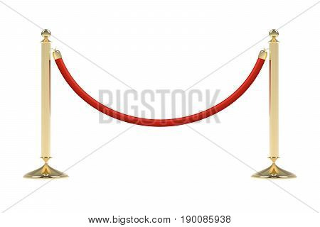 Barriers with red rope. Red carpet event enterance gate. VIP zone, closed event restriction. Realistic image of golden poles with velvet rope. Isolated on white background. Vector illustration.