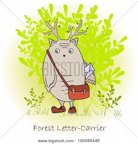 Colorful cute monster with bag and letter, forest postman. Forest letter-carrier character print. Vector illustration