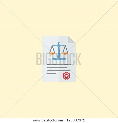 Flat Icon Law Element. Vector Illustration Of Flat Icon Act Isolated On Clean Background. Can Be Used As Act, Law And Rule Symbols.