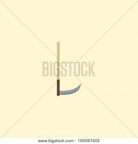 Flat Icon Scythe Element. Vector Illustration Of Flat Icon Cutter Isolated On Clean Background. Can Be Used As Scythe, Cutter And Tool Symbols.