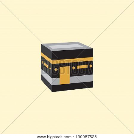 Flat Icon Kaaba Element. Vector Illustration Of Flat Icon Mecca Isolated On Clean Background. Can Be Used As Mecca, Kaaba And Mekkah Symbols.