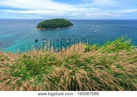 Tropical seascape viewpoint and blue sky in Phuket, Thailand