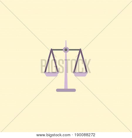 Flat Icon Scales Element. Vector Illustration Of Flat Icon Libra Isolated On Clean Background. Can Be Used As Scales, Libra And Weight Symbols.